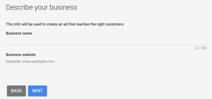 Google Ads describe your business settings screen