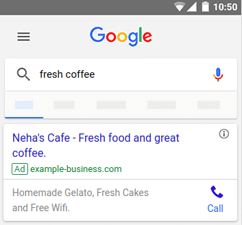 Google Ads call only ad example