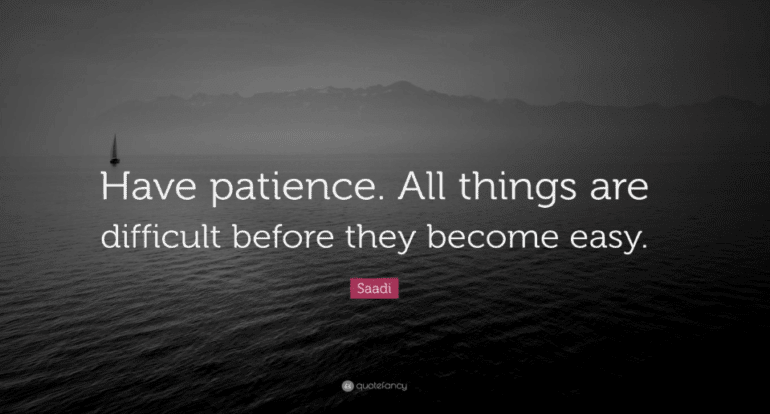 Quote: Have patience. All things are difficult before they become easy