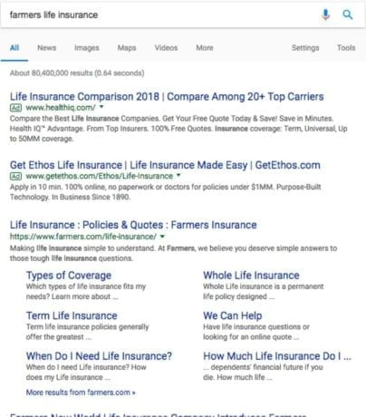 life insurance paid search