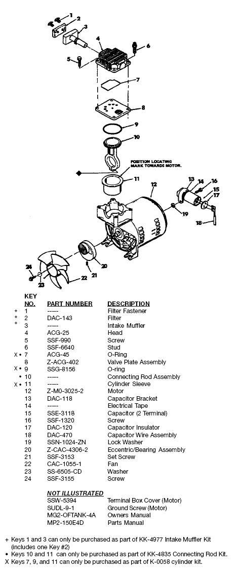 DEVILBISS MODEL 150E4D AIR COMPRESSOR BREAKDOWN, PARTS