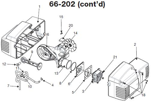 DEVILBISS MODEL 66-202 OIL FREE COMPRESSOR, BREAKDOWN