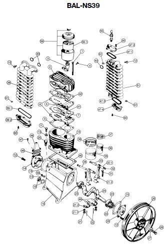 DEVILLBISS BAL-NS39 Air Compressor, Pump Parts, Breakdown