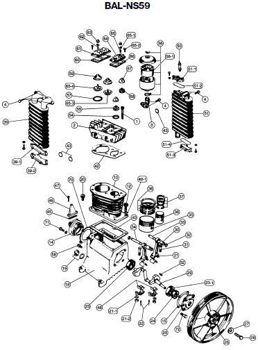 DEVILLBISS BAL-NS59 Air Compressor, Pump Parts, Breakdown
