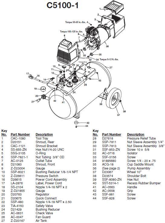 DEVILBISS MODEL C5100-1 OIL FREE COMPRESSOR, BREAKDOWN