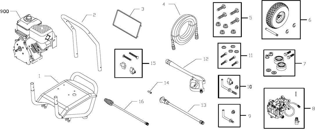 Troy-Bilt Pressure Washer Model 020200 Replacement parts