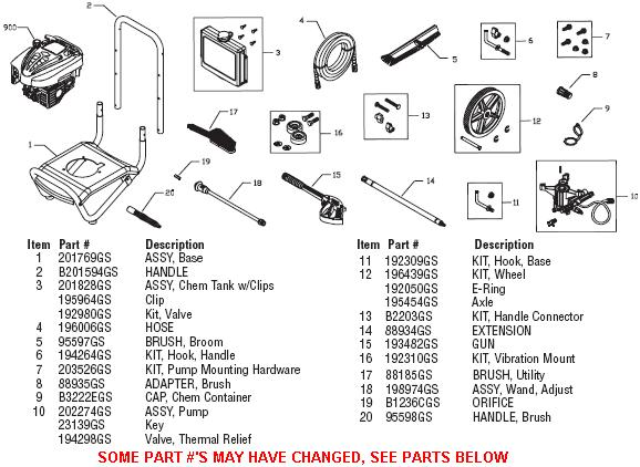 BRUTE Pressure Washer 020291-04 replacement parts, pump
