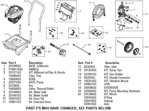 Troy-bilt pressure washer model 020349-1 replacement parts