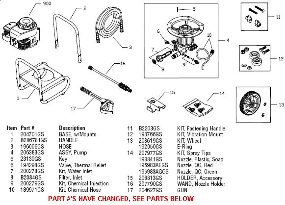 BRUTE Pressure Washer 020384 replacement parts, pump