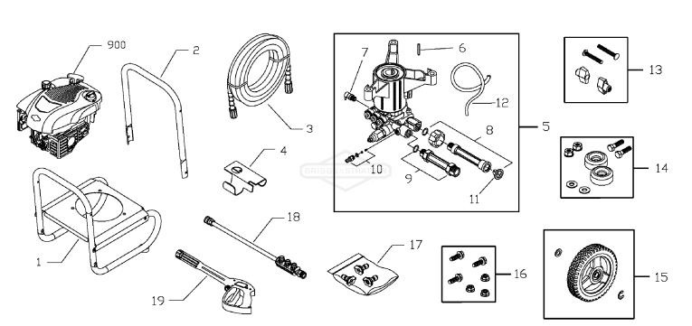 Briggs & Stratton 020427 Replacement Parts, pump breakdown