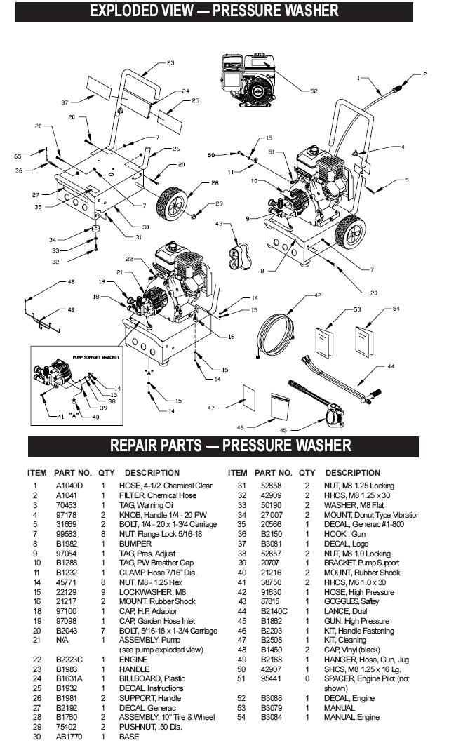 Generac pressure washer model 1043-1 replacement parts
