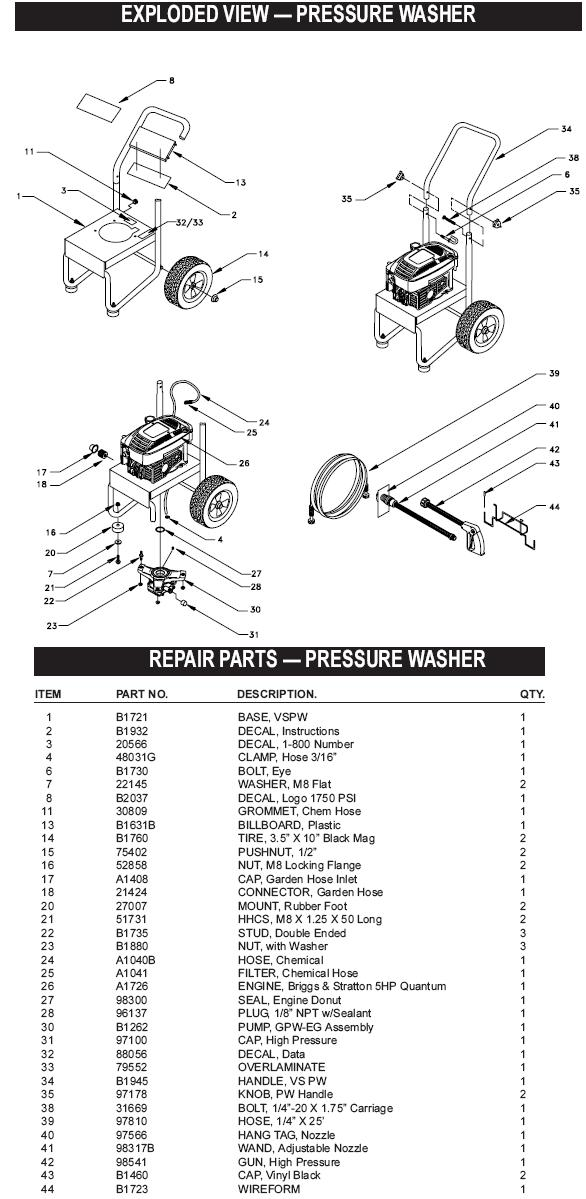 Generac pressure washer model 1120-0 replacement parts