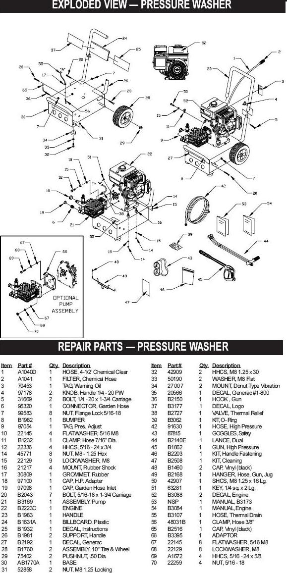 Generac pressure washer model 1132-0 replacement parts
