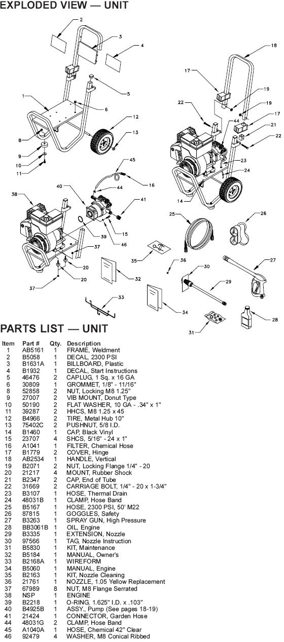 Generac pressure washer model 1200-0 replacement parts