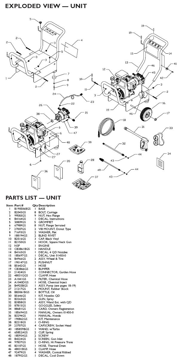 Generac pressure washer model 1450-0 replacement parts