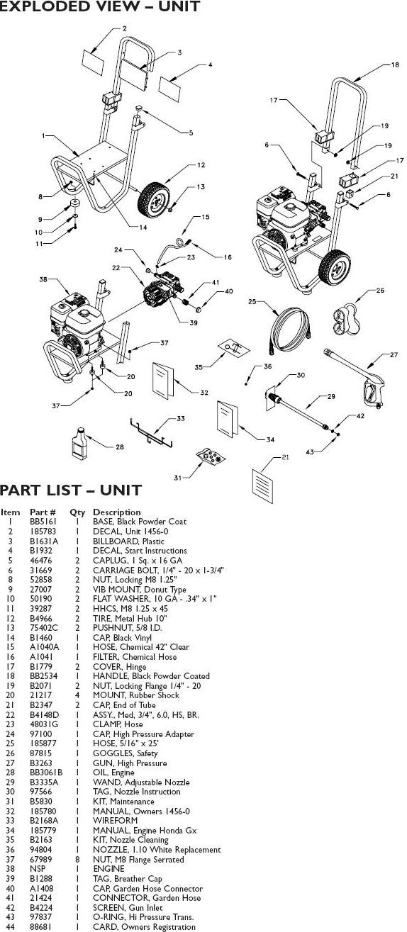 Generac pressure washer model 1456-0 replacement parts