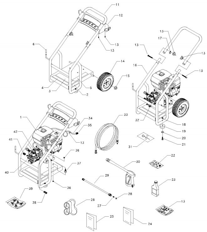 Generac pressure washer model 1538-0 replacement parts