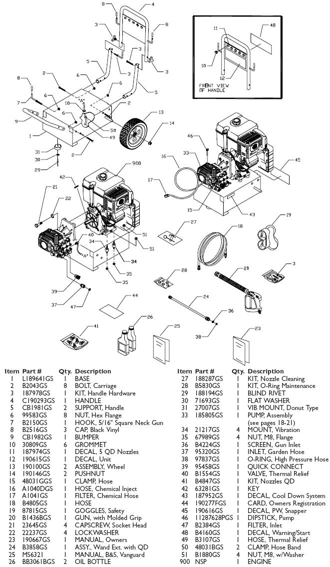 Snapper pressure washer model 1662 replacement parts
