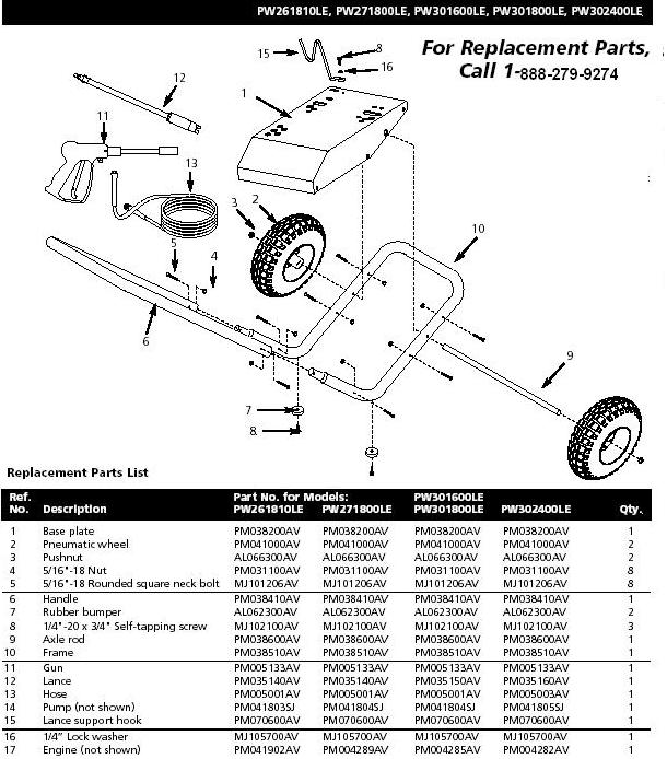 Campbell Hausfeld PW271800LE Pressure Washer Parts repair