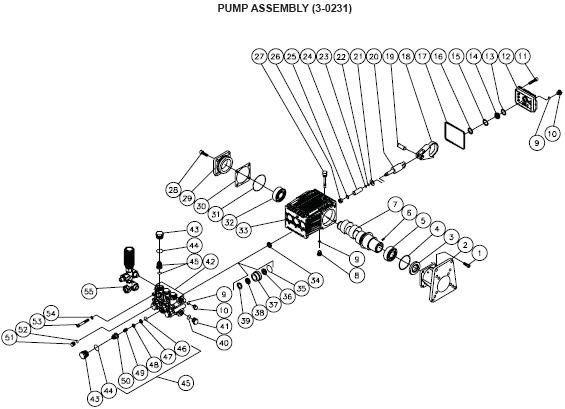 JP-4004-0MVB Pressure Washer Parts Page with breakdown