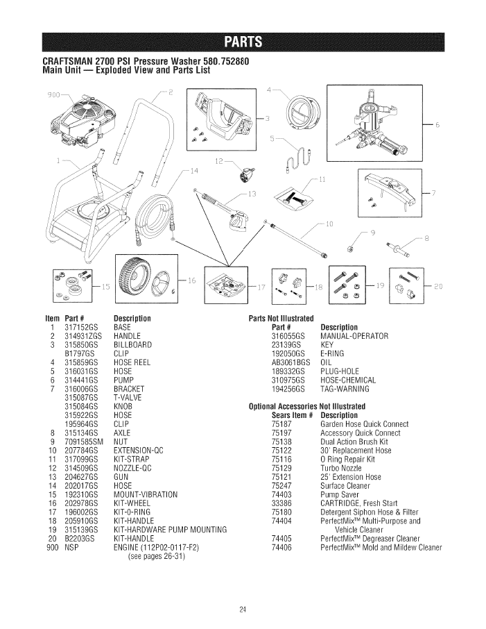 580.752880 CRAFTSMAN PRESSURE WASHER PARTS