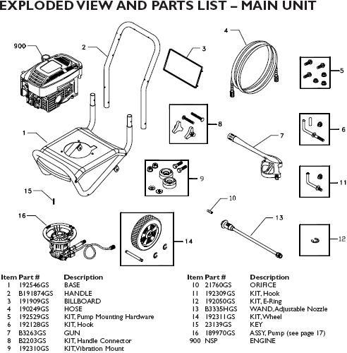 Speed Clean pressure washer model 1909 replacement parts