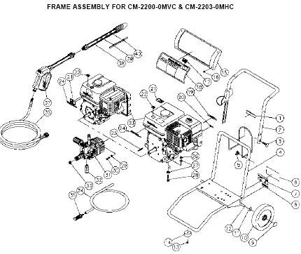 CM-2200-0MVC CM2203 0MHC Water Pressure Washer parts