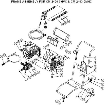 Mi-T-M Chore Master CM-2403-0MHC Pressure Washer parts breakdown & owners manual