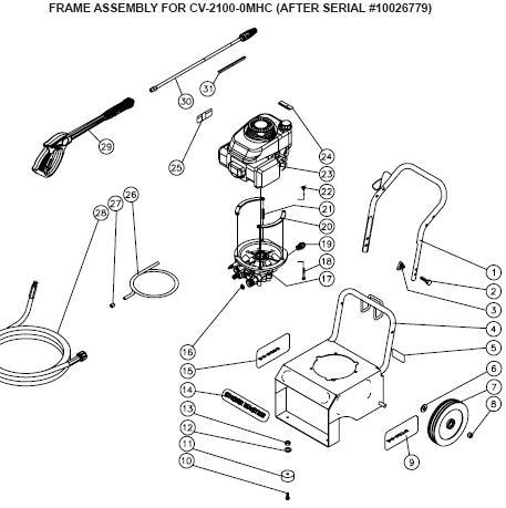 CV-2100-0MHC Pressure Washer parts, pump, repair kits