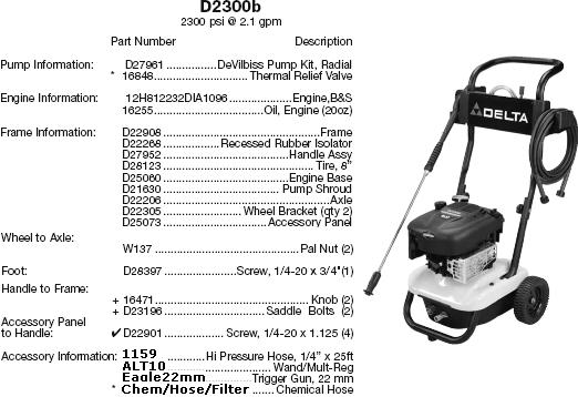Delta / Excell pressure washer D2300B parts breakdown