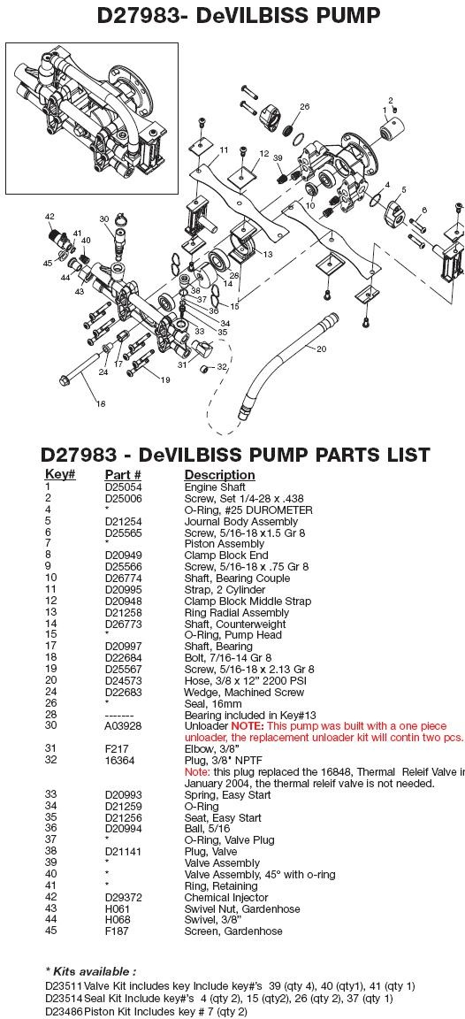 Excell Pressure Washer Model VR2522 Replacement Parts