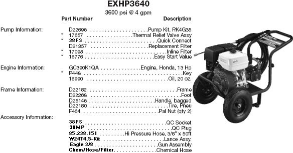Devilbiss Excell pressure washer EXHP3640-1 parts