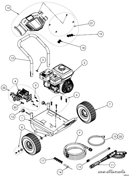 SIMPSON® PS60925 Pressure Washer Parts, Accessories