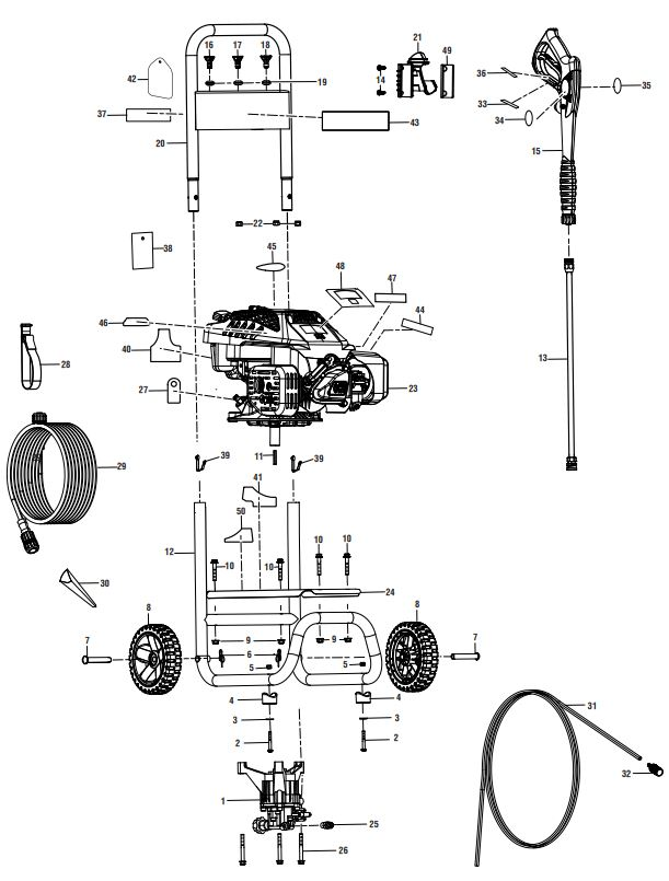 POWERSTROKE PS80519 POWER Washer Replacement Parts