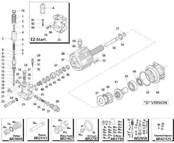 EX-CELL Pressure Washer Model XR2750 Replacement Parts.