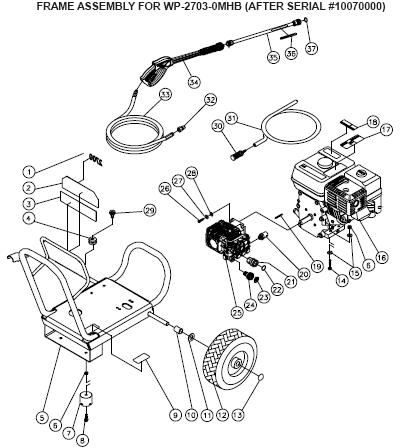 Mi-T-M Work Pro WP-2703-0MHB, Cold Water Pressure Washer PARTS
