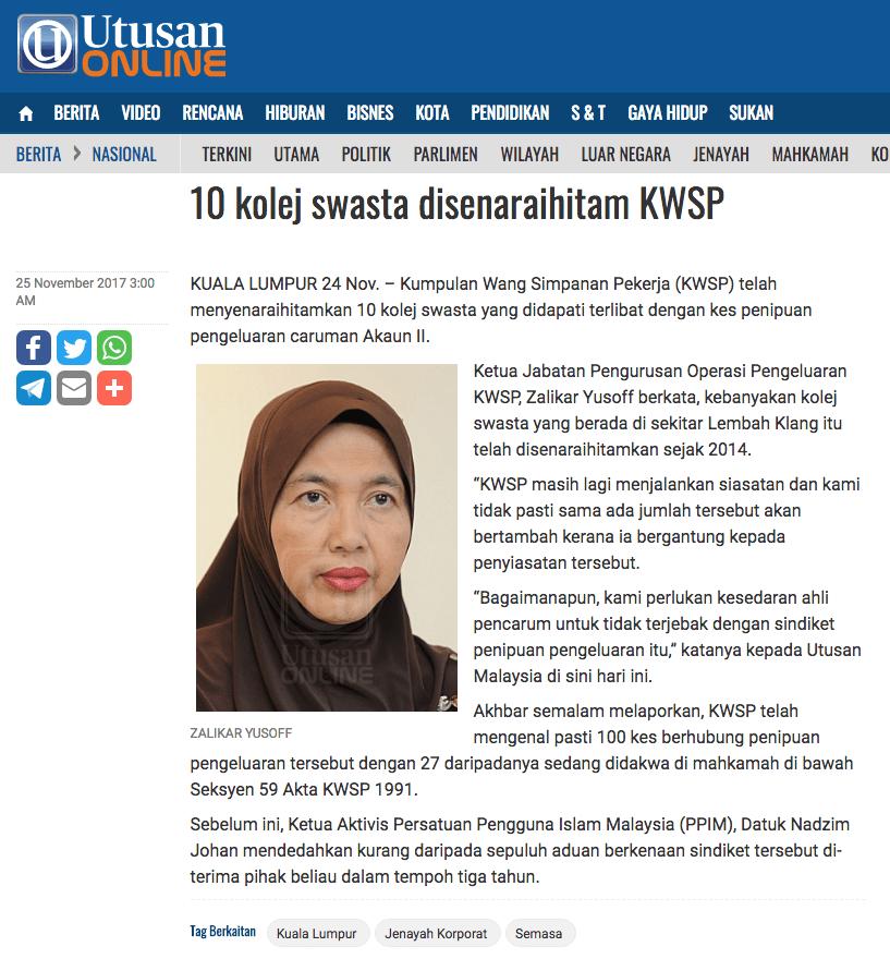 10 kolej swasta disenaraihitam KWSP   Nasional   Utusan Online