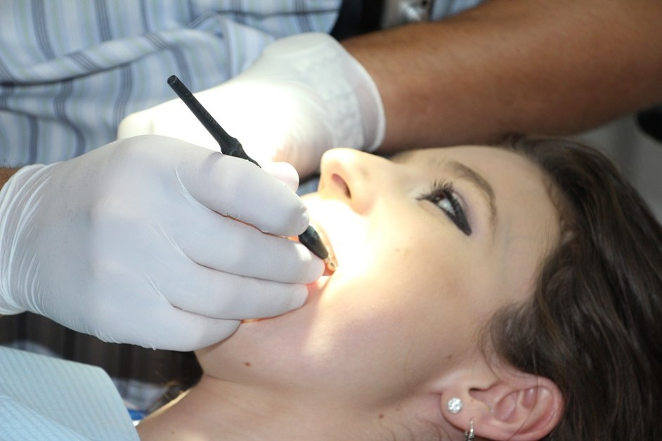 woman in dental check up