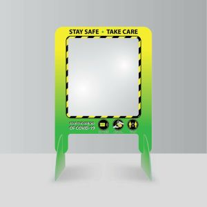 Sneeze Guard Protection Plastic Green Yellow