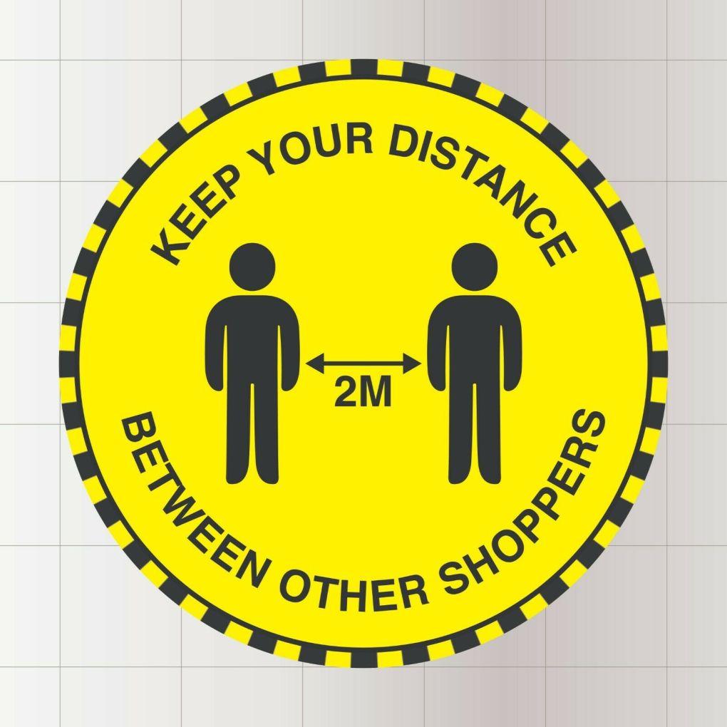 yellow 2 meter floor stickers