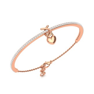 knotted heart bracelet in rose gold