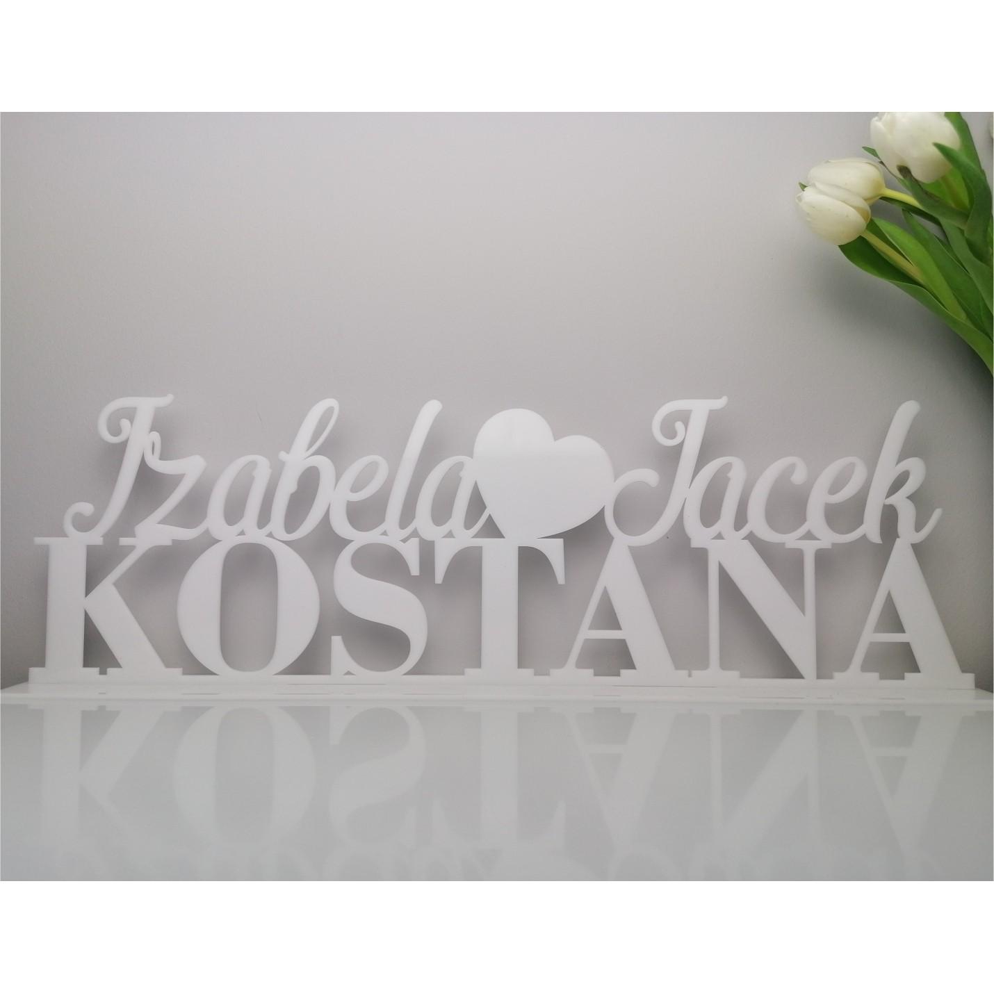 biały napis weselny