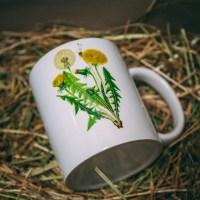 kubek z motywem ziół