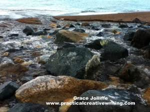 rocks in the sea illustrating an article about creative writing tips