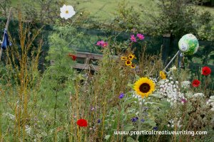wild flower garden illustrating an article about the benefits of creative writing exercises