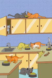 drawing of cats in a kitchen illustrating a page called a story about cats
