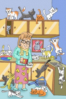 cartoon of woman with many cats illustrating an article about how to write stories for children
