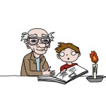 drawing of a grandfather and a boy reading a story illustrating a page with free stories for kids from Ireland's magical Ballyyahoo.