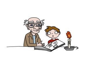 drawing of a grandfather and a boy reading a story illustrating an article about how to write for children