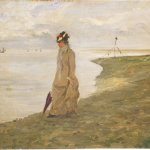 old painting of a women walking along the shore illustrating an article about the revealing of Writer, Elena Ferrante's identity